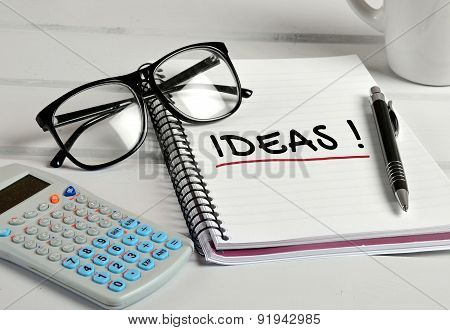 Ideas Word On Notebook