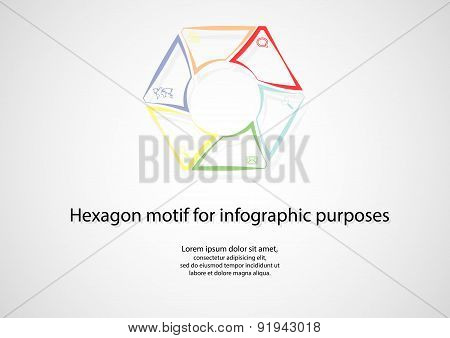Hexagonal Infographic Consists Of Lines On Light