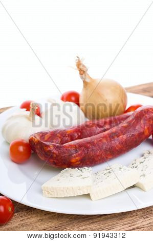 Sausages With Danish Blue Cheese And Vegetable