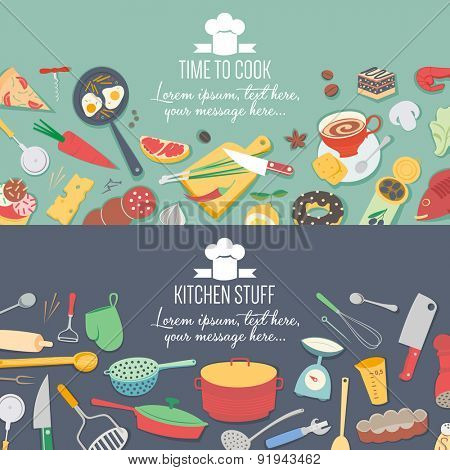 Food and cooking banner set with kitchenware utensils