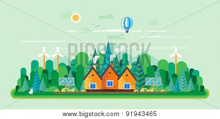 Vector flat illustrations - Eco style life. Eco farm. Green energy