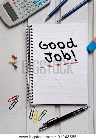 Good Job Word On Notebook