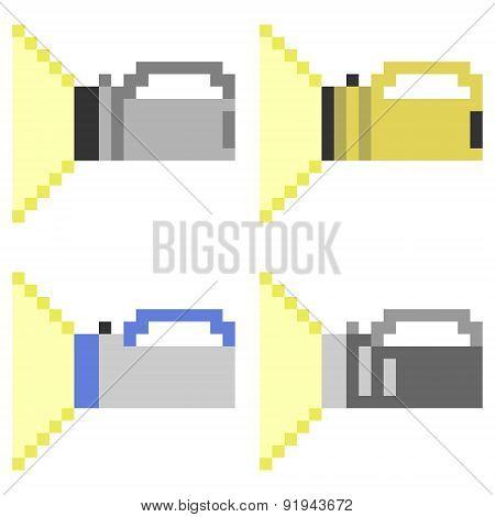 illustration pixel art icon flashlight