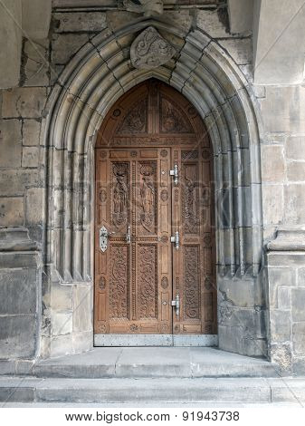 One of many doorways of Gothic Cathedral of Saints Vitus, Wenceslaus and Adalbert, Prague, Czech Republic