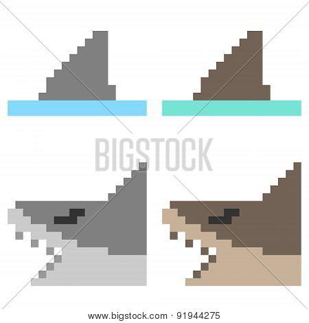 illustration pixel art icon shark