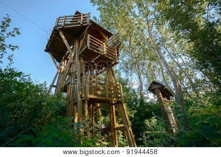 High lookout tower in the forest