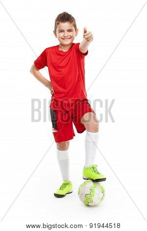 Standing Young Soccer Player With Football