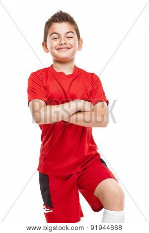 Standing Young Soccer Player In Sportswear