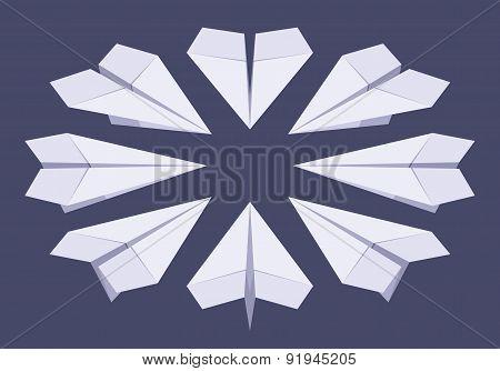 Isometric white paper planes