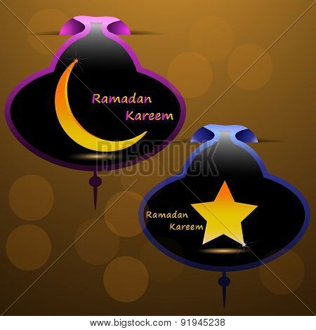 Gold Star And Gold Crescent Moon On A Colored Background With A Pattern For The Holy Month Of Muslim