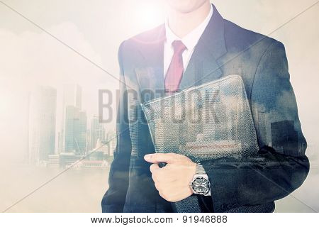 Double Exposure Conceptual Image Of Urban Businessman
