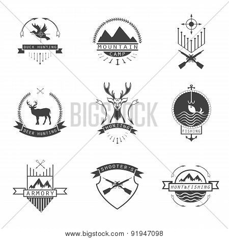 Set Of  Hunting, Camping, Fishing, Armory And Shooter's Logo, Emblem.