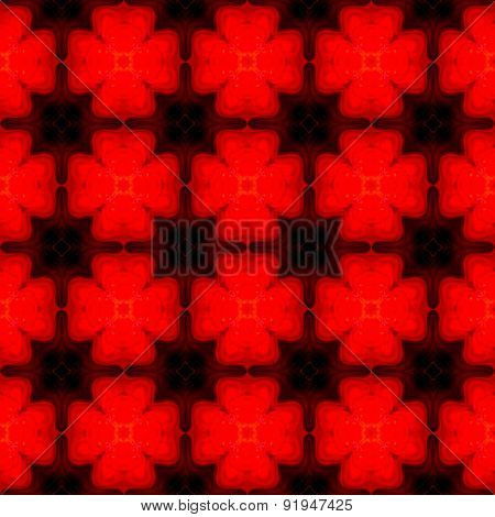 Abstract Symmetric Red Shamrock Texture Made Seamless