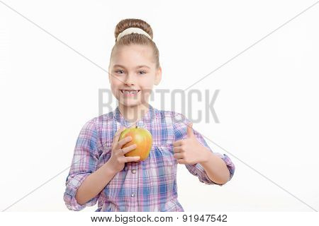 Small girl with an apple