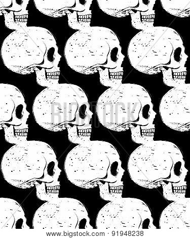 Side-face White Skull Seamless Pattern