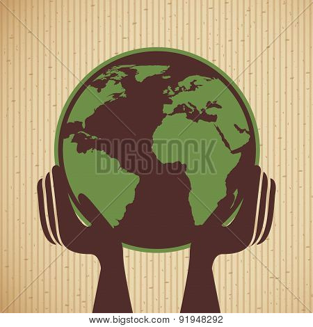 Ecology design over beige background vector illustration