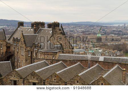 Edinburgh, Scotland - Circa March 2013: A View From The Exterior Of Edinburgh Castle
