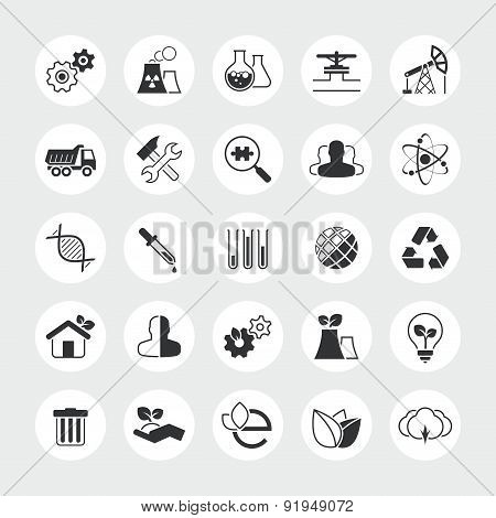 Industry and ecology total vector icon set