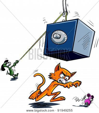Cartoon cat about to be crushed by falling safe