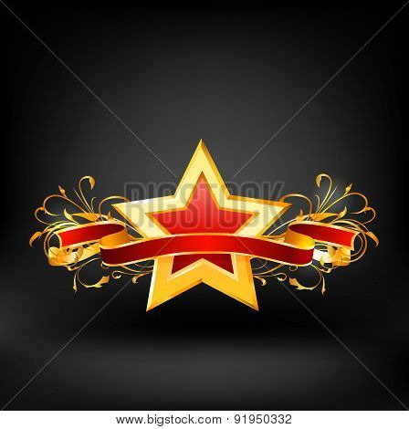 Star on dark background. Vector
