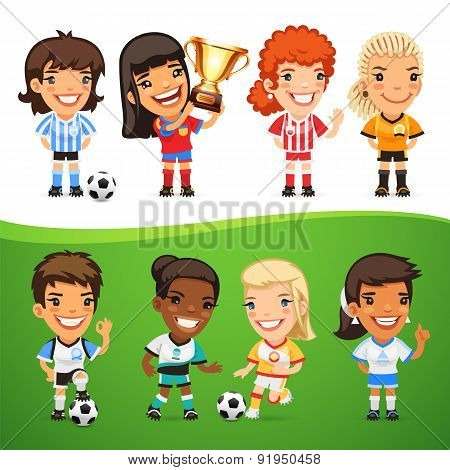 Cartoon Women Soccer Players Set