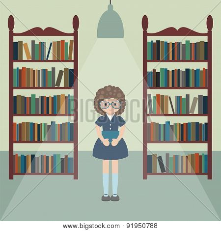 Cartoon Girl In The Library.