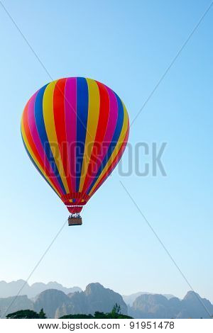 Colorful  Hot Air Balloon In The Sky.laos.