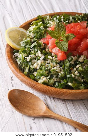 Tabbouleh Salad Closeup In A Bowl On The Table. Vertical