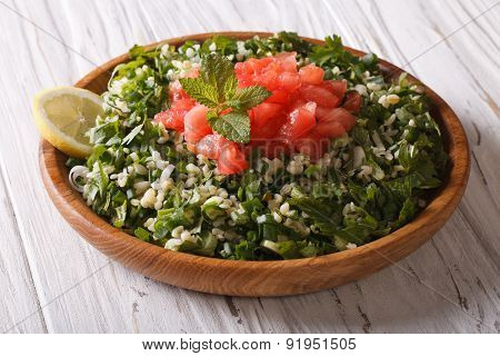 Tabbouleh Salad Closeup In A Bowl On The Table. Horizontal