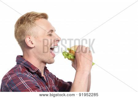 Handsome excited man going to eat sandwich