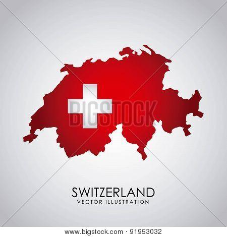 Swiss flag map over gray background vector illustration