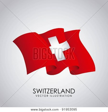 Swiss flag over gray background vector illustration