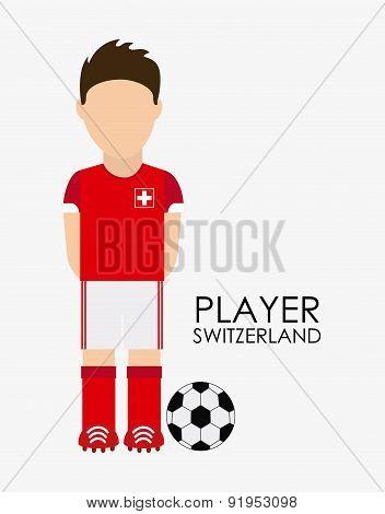 Swiss soccer player over white background vector illustration