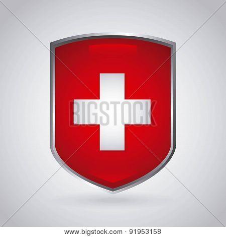 Swiss flag shield over gray background vector illustration