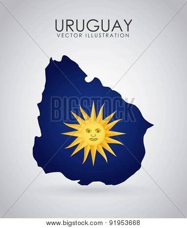 Uruguay design over gray background vector illustration