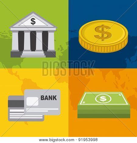 Bank design over colorful background vector illustration
