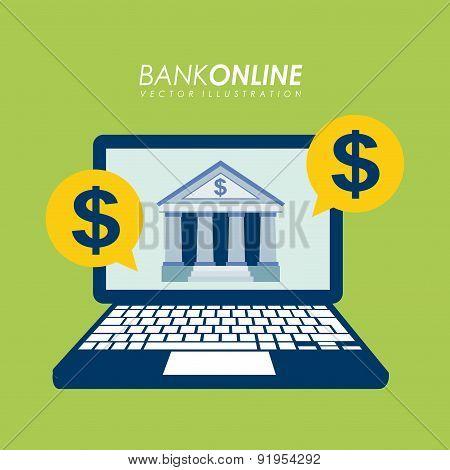 Bank design over green background vector illustration