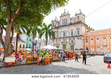 BAHIA, BRAZIL - CIRCA NOV 2014: People walk in Pelourinho area, famous Historic Centre of Salvador, Bahia in Brazil.