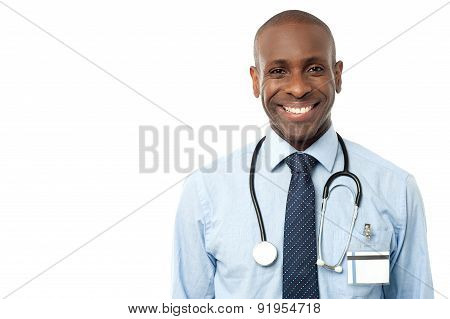 Happy Male Doctor With Stethoscope
