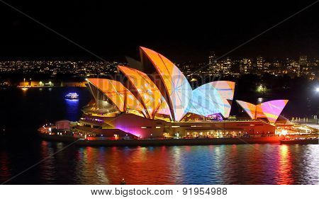 Sydney Opera House In Bright Patterns Of Orange And Blue Vivid Sydney