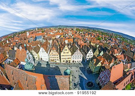 Aerial Of The Market Place Of Rothenburg Ob Der Tauber