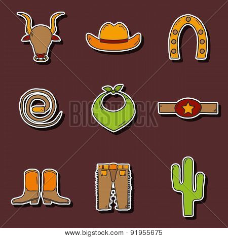 Set of hand drawn rodeo stickers
