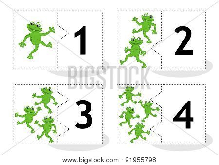 Learn counting puzzle cards with frogs, numbers 1 - 4