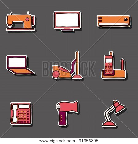 Set of hand drawn home appliances stickers