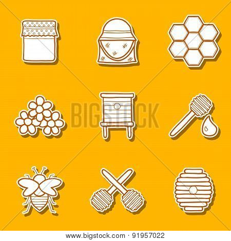 Set of hand drawn stickers on beekeeping theme