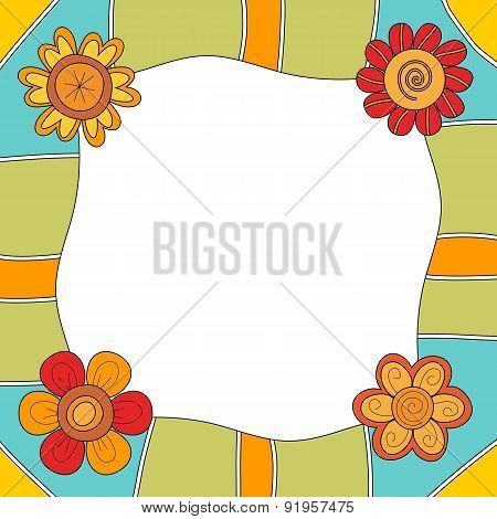 Colorful background or frame with flowers