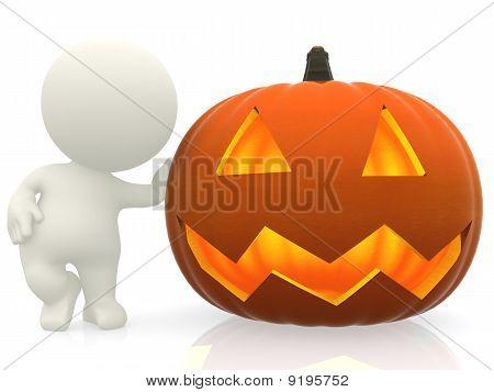 Man With Halloween Pumpkin
