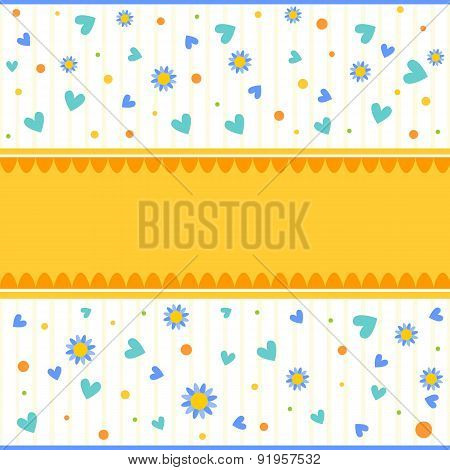 Colorful background with hearts flowers and dots