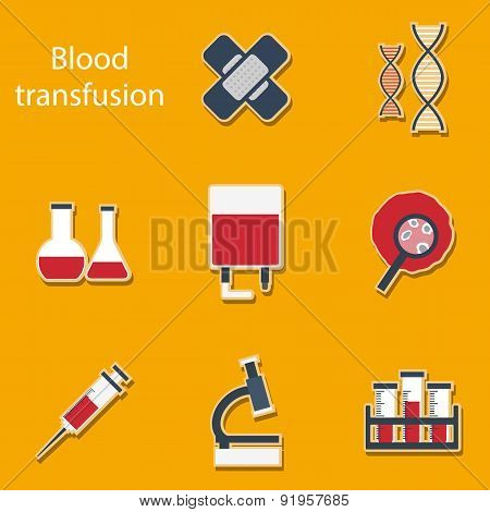 Set of flat stickers on blood transfusion theme
