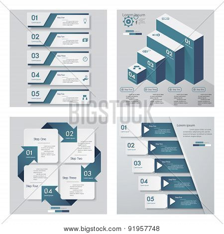 Collection of 4 blue color template. Vector Background.